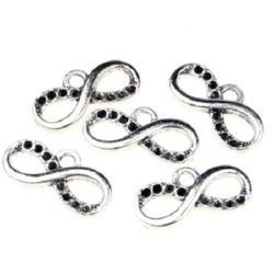 Pendant metal infinity sign with nests for crystals 17x8.5x2 mm hole 2 mm color old silver - 10 pieces