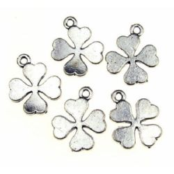Lucky charm element, jewelry findings clover 16x16 mm silver - 5 pieces