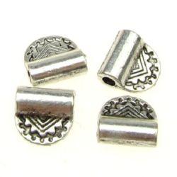 Мънисто метал 8x8x3 мм дупка 1.5 мм цвят сребро -10 броя