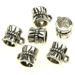 Perle cilindru metalic cu inel 10x7.5x7 mm gaură 2 mm 5 mm culoare argint vechi -20 piese