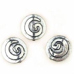 Мънисто метал 15 мм дупка 1 мм цвят сребро бяло -10 грама -4 броя