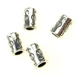 Margele metalica cilindru 10x6 mm gaura 4 mm culoare alb-argintiu -10 grame -10 bucăți
