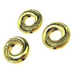 Margele metalica saibă  15x3 mm gaură 5 mm culoare auriu -50 bucăți