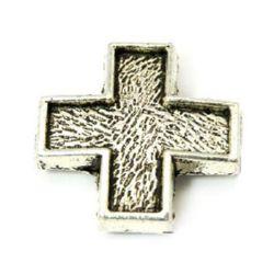 Разделител метал кръст 15x15x3 мм дупка 1 мм цвят сребро -10 броя