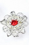 Разделител метал с кристал 14x14x6 мм дупка 2 мм цвят бял -3 броя