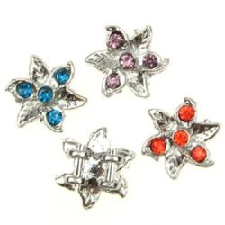 Flower shape metal bead, divider with crystals assorted 14x5 mm hole 2 mm color white - 4 pieces