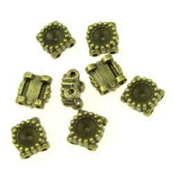 Разделител метал 9x9x4 мм дупка 1 мм цвят антик бронз -10 броя