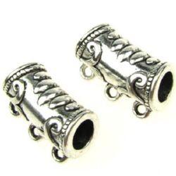 Разделител метал 22x13x10 мм дупка 2 мм цвят старо сребро -2 броя