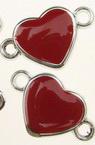Element de legătură CCB inimă 24x15x3 mm roșu -10 bucăți