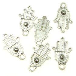 Висулка метална ръка 19x12x2 мм дупка 2 мм цвят сребро -15 броя -9.5 грама
