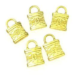 Висулка метална чанта 12x8x2 мм цвят злато -10.14 грама -7 броя