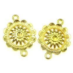 Свързващ елемент цвете 27x20 мм дупка 2 мм цвят злато -10 грама
