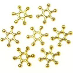 Margele metalica fulie de zăpadă  bila 10x2 mm gaură 2 mm culoare aur-30 bucăți -7,46 grame