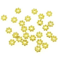 Beaded metal flower 5x1 mm hole 1 mm color gold -100 pieces -7.84 grams