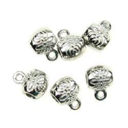 Мънисто метал цилиндър с халка 8x6x1 мм дупка 2 мм цвят сребро -15 броя -8.47 грама