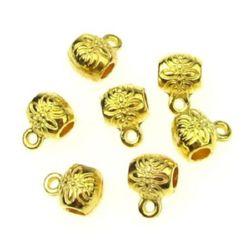 Margele cilindru metalic cu inel 8x6x1 mm gaură 2 mm culoare auriu -15 bucăți -8,53 grame