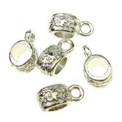 Perle cilindru metalic cu inel 11x5x1.5 mm gaură 4.5 mm culoare argintiu -15 bucăți -10.35 grame