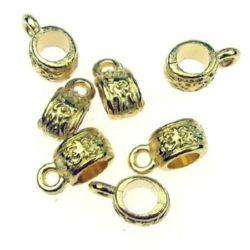 Margele cilindru metalic cu inel 11x5x1.5 mm gaură 4.5 mm culoare auriu -15 bucăți -10.40 grame