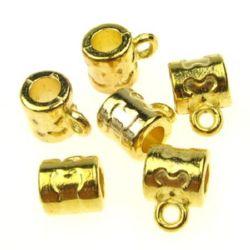 Мънисто метал цилиндър 7x7 мм дупка 4 ммxалка цвят злато -10 грама