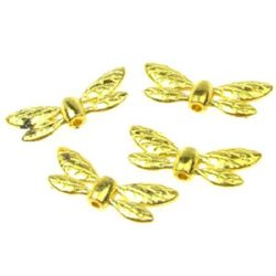 Мънисто метално крила 8x22x4 мм дупка 1.5 мм цвят злато -10.80 грама -10 броя