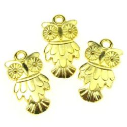 Glossy metal owl pendant 19x11x2 mm color gold - 9.65 grams - 10 pieces