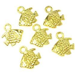 Lustrous metal fish shaped pendant 11x10x2 mm gold color -10 grams - 20 pieces