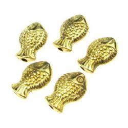 Margele metalica  pește 10x7x3,5 mm gaură 1 mm culoare aur -10 grame -18 bucăți