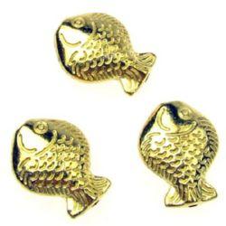 Margele metalica  pește 17x12,5x5,5 mm gaură 2 mm culoare aur-9 grame -3 bucăți