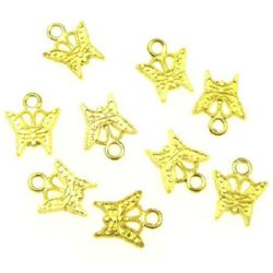 Delicate metal butterfly, jewelry findings - metal  pendant 11x9x1.5 mm gold color -10 grams - 30 pieces