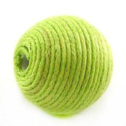 Bila de bumbac acoperita cu 16 mm gaură de 2 mm cordon verde -5 buc