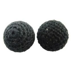 Ball vestured with textile 14 mm hole 2 mm black - 5 pieces