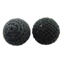 Bilă îmbrăcată cu material textil 20 mm 2 mm negru -5 buc