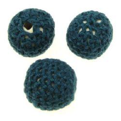 Bilă textilă 20 mm gaură 2 mm verde închis -5 buc
