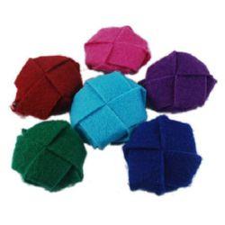 Flori textile 25x23x10 mm gaură 3 mm culoare -5 buc