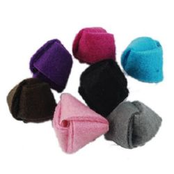 Felt wool bead 14x17x17 mm hole 3 mm handmade assorted colors - 5 pieces
