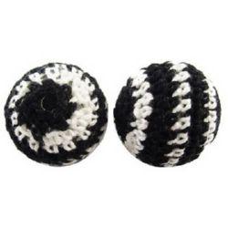 Bilă îmbrăcată cu textil gaură de 20 mm textil 2 mm alb și negru -5 bucăți