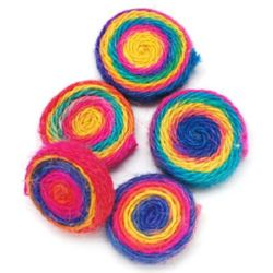 Colorful textile bead 35x10 mm - 2 pieces