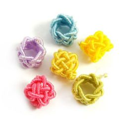 Cord bead for hobby, jewelry making, art ideas 7x5 mm assorted colors - 10 pieces
