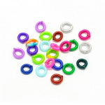 Cord bead 7 mm circle assorted colors - 10 pieces