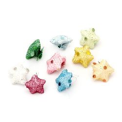 Styrofoam star with Fabric  22 x 10 mm MIX colors