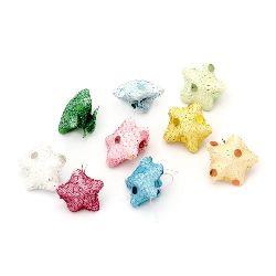 Διακοσμητικά αστεράκια από φελιζόλ με ύφασμα 22x10 mm MIX -10 κομμάτια