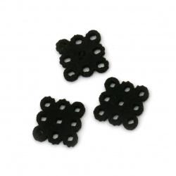 Χάντρα τετράγωνο 10x10x2 mm δερματίνη μαύρο -1 κομμάτι