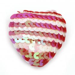 Inimă din poliuretan îmbrăcata cu paiete 47x47x24 mm alb și roșu