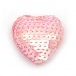 Inimă din poliuretan îmbrăcata cu paiete 38 ~ 47x38 ~ 47x21 ~ 24 mm roz