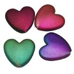 Мънисто гумирано покритие сърце 24x25x7 мм дупка 2 мм цветно -50 гр ~ 19 броя