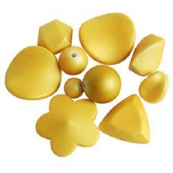 Margele acoperită cu cauciuc ASORTATE 6-48x6-35x5-22 mm galben -50 grame