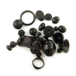 Mixed Beads in assorted shapes and sizes 12~40 mm hole 2~10 mm black - 50 grams