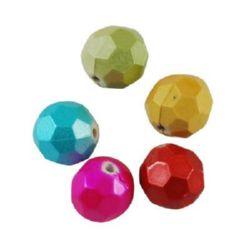 Мънисто гумирано покритие топче 12 мм дупка 2 мм многостен цветно -50 грама ~47 броя