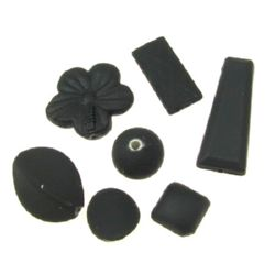 Margele acoperită cu cauciuc ASORTATE 10-29x10-28x9-10 mm gaură 2-3 mm negru -50 grame ~ 16 bucăți