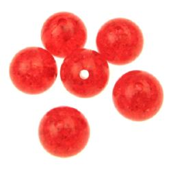 Мънисто кракъл топче 14 мм дупка 2 ммл червено -50 грама ~ 28 броя